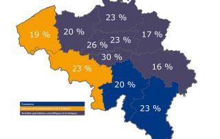Secteur en tête par région (sans les sociétés de recrutement) en Octobre 2018, Belgique