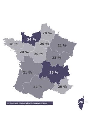 Secteur en tête par région (sans les sociétés de recrutement) en Octobre 2018, France